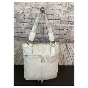 London Gray Leather Shoulder Tote